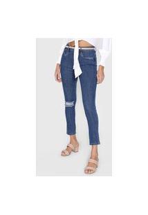 Calça Cropped Jeans Lança Perfume Skinny Destroyed Azul