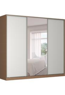 Guarda-Roupa Casal Com Espelho Tunas Ii 3 Pt 3 Gv Marrom E Branco
