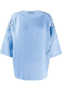 Ermanno Scervino Suéter Com Detalhe De Renda Floral - Azul