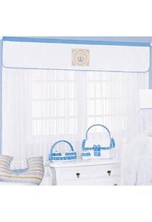Cortina Para Quarto De Bebê Meu Reizinho Azul Claro Com Coroa