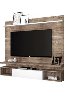 Painel + Bancada Suspensa Texas Para Tv De Até 65'' - Naturale Com Branco Glass