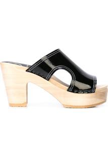No.6 Sandália Com Recorte Vazado E Salto - Preto