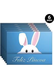Jogo Americano Mdecore Páscoa 40X28Cm Azul 6Pçs