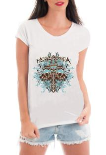 Camiseta Criativa Urbana Rendada Caveiras Espada Branca