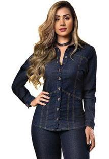 Camisa Jeans Tyn Feminina - Feminino-Azul Escuro