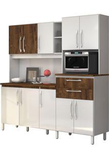 Armário De Cozinha Rubi 10 Portas Branco Com Malbec Vitamov