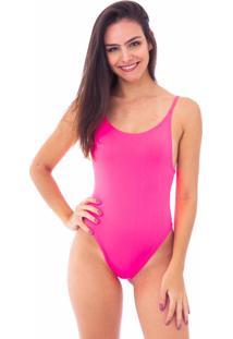 Body Moda Vício Decote Costas Alça Fina Rosa Neon