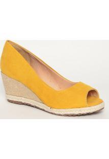 Peep Toe Anabela Com Sisal- Amarelo & Bege- Salto: 7Mya Haas