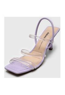 Sandália Dakota Tiras Transparentes Lilás/Incolor