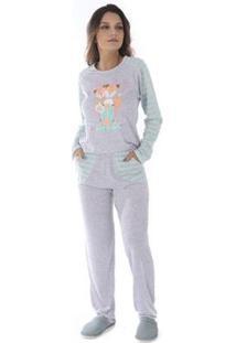Conjunto Pijama Victory Inverno Pv Feminino - Feminino-Verde