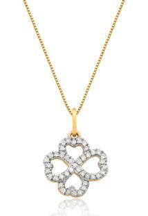 Pingente De Ouro 18K Trevo Vazado Com Diamantes-Coleção Tréfle