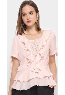 Blusa Only Fashion Bata Babados Feminina - Feminino-Rosa Claro