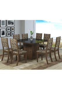 Conjunto Sala De Jantar Mesa 8 Cadeiras Isabela Viero Grigio/Medina/Vidro Preto