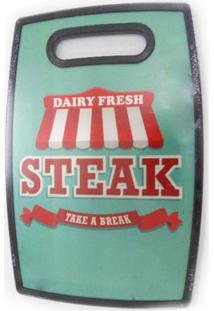 Tábua Para Corte Em Polipropileno 30 X 20 Churrasco Steak Verde