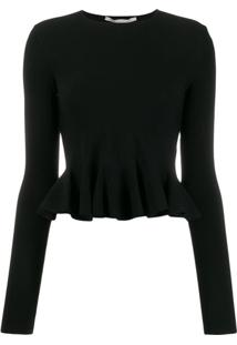 Stella Mccartney Blusa Cropped Peplum - Preto