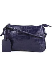 Bolsa Shoestock Crossbody Travel Croco Feminina - Feminino-Marinho