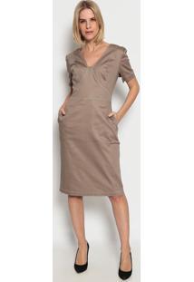 Vestido Liso Com Bolsos - Marrom Claro- Ennaenna