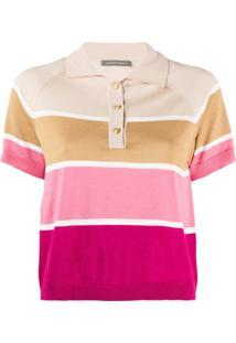 Alberta Ferretti Camisa Polo Cropped Listrada - Neutro