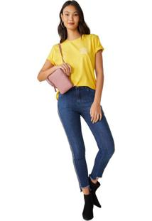 Calça Jeans Skinny Com Listra Lateral