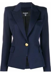 Balmain Blazer Slim Com Abotoamento - Azul