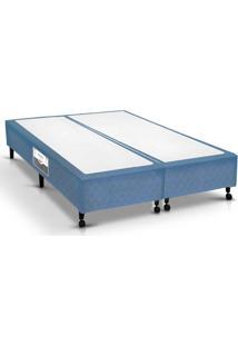 Cama Box Base Castor Poli Tecido Azul Queen 158
