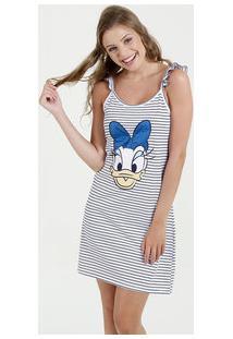 Camisola Feminina Listrada Margarida Alças Finas Disney