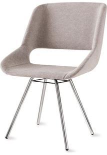 Cadeira Dife Assento Estofado Rustico Cru Base Cromada - 55880 - Sun House