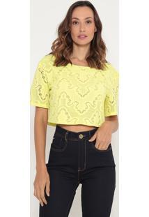 Blusa Cropped Em Renda- Amarela- Lança Perfumelança Perfume