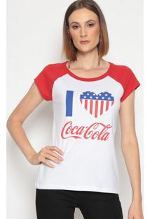 Camiseta Coração Com Recortes- Branca & Vermelha- Cococa-Cola