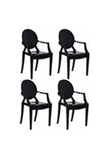 Kit 4 Cadeiras Louis Ghost Preta Solido Policarbonato Sala Cozinha Jantar