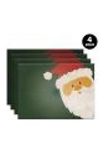 Jogo Americano Mdecore Papai Noel 40X28Cm Verde 4Pçs
