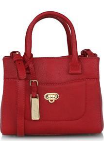 Bolsa Pequena Em Couro Texturizado Vermelha