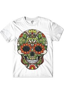 Camiseta Long Beach Caveira Flores Sublimada Masculina - Masculino-Branco