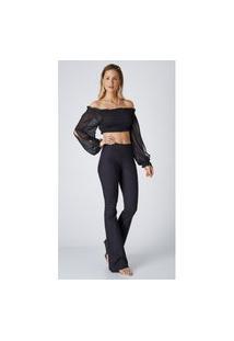 Calça Jeans Express Hot Flare Caroline Preto