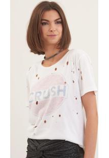 Camiseta John John Crush Malha Off White Feminina (Off White, Gg)