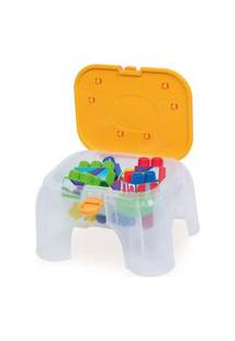 Brinquedo De Atividades - Banquinho Com Blocos - Coti Block - Laranja - Cotiplás