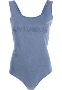 Balmain Body Com Logo - Azul