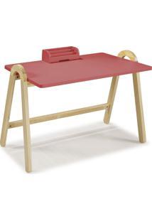 Mesa Escrivaninha Com Porta Objetos Ringo 1031 Natural/Rosa New - Maxima