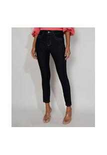 Calça Jeans Feminina Cintura Alta Sawary Skinny Super Lipo Com Recorte Azul Escuro