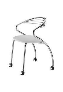 Cadeira Angola Cromada Com Rodizios Corino Branco 8832 Branco