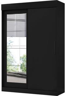 Guarda Roupa Bolt C/ Espelhos 2 Portas De Correr Preto Fosco Liso Albatroz - Tricae