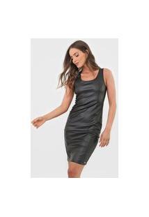 Vestido Cativa Curto Resinado Preto