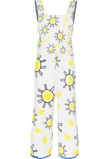 Mira Mikati Square Neck Sunshine Print Cotton Linen Blend Jumpsuit - Branco