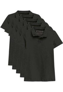 Kit De 5 Camisas Polo Femininas Preto
