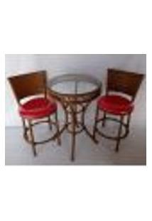 Conjunto De Mesa 50 Cm Com 2 Cadeiras, Vidro Não Acompanha