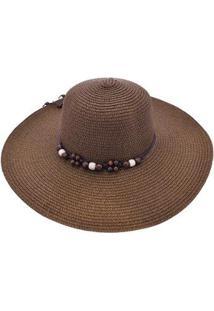 Chapéu Sombrero Alma De Praia De Palha - Feminino-Marrom