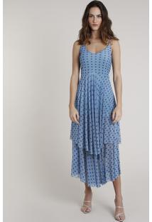Vestido Feminino Mindset Longo Estampado De Poá Em Camadas Alça Fina Azul Claro