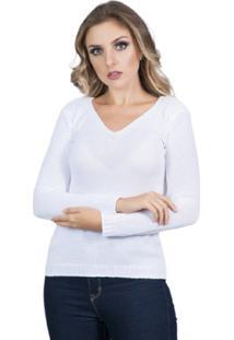 Blusa Tricot Frio Feminina Beth Branco Tam.Único - Kanui
