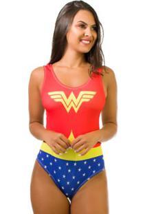 Body Kaisan Sublimado Cavado Nas Costas Wonder Woman - Feminino-Vermelho