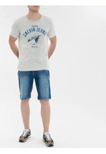 Camiseta Ckj Mc Calvin Klein Jeans Tour- Cinza Claro - Pp